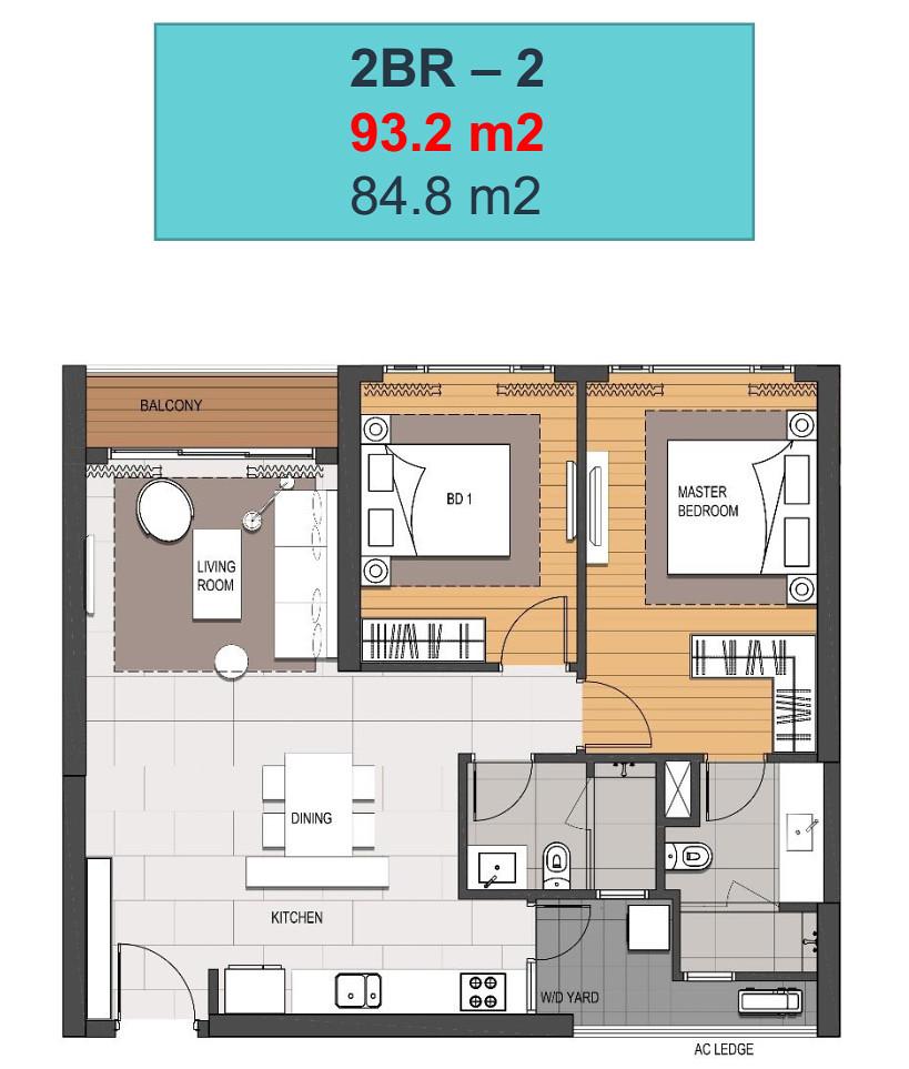 Thiết kế căn hộ 2 phòng ngủ tòa Linden - Empire city