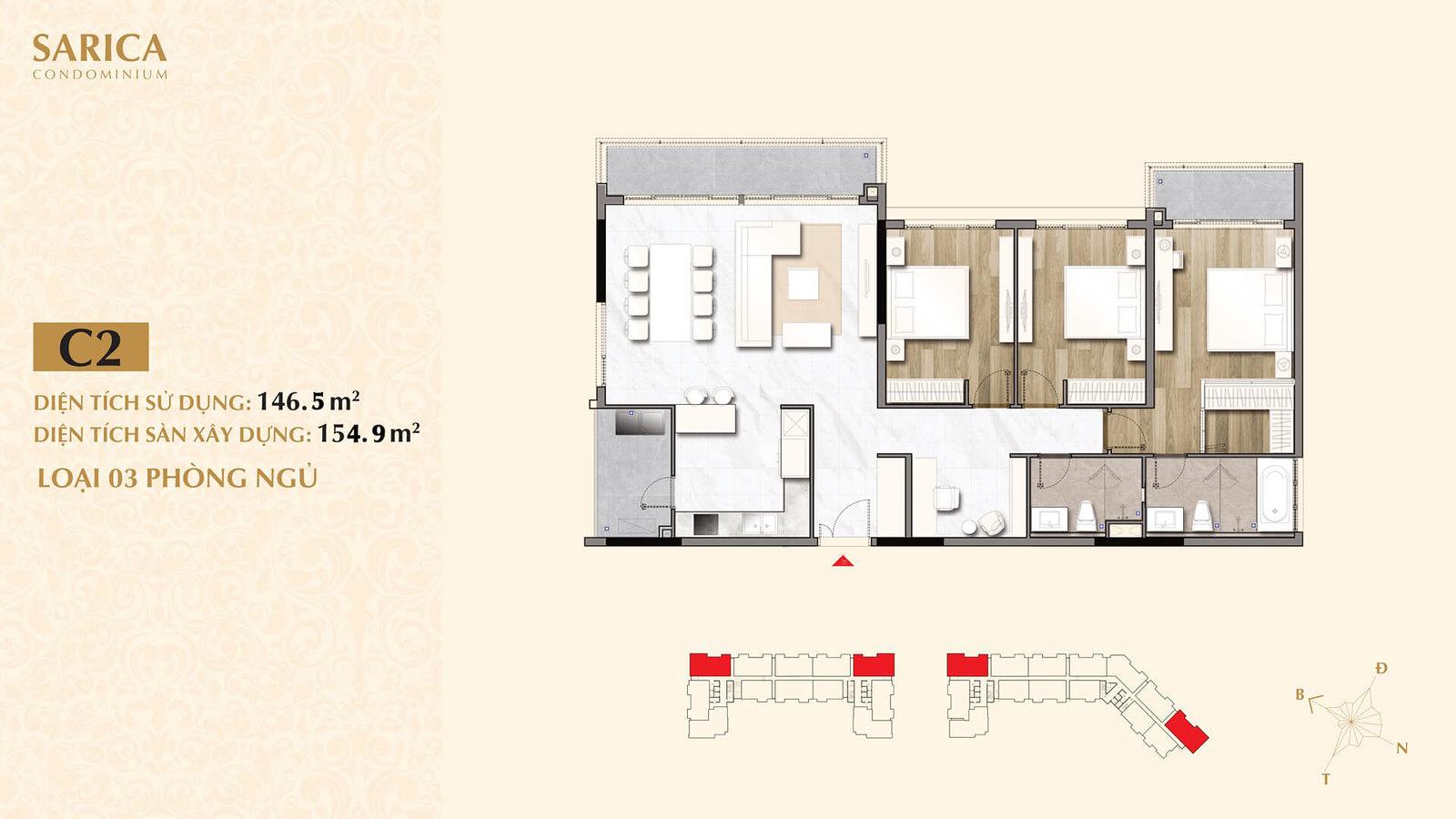 Layout căn hộ 3 phòng ngủ Sarica cần bán giá tốt