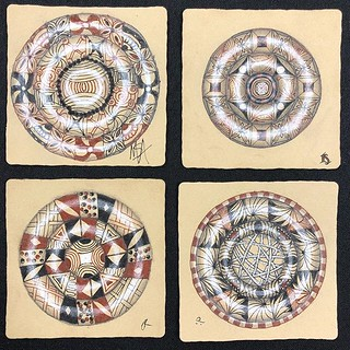 "I had so much fun with some of my returning students at tonight's ""Beyond Basics: Reticula and Fragments"" class (AKA Zenbuttons) at @walkervilleartistscoop in Windsor, Ontario - check out their gorgeous tiles! #zentangle #tangle #tangling #czt #laurelstor 