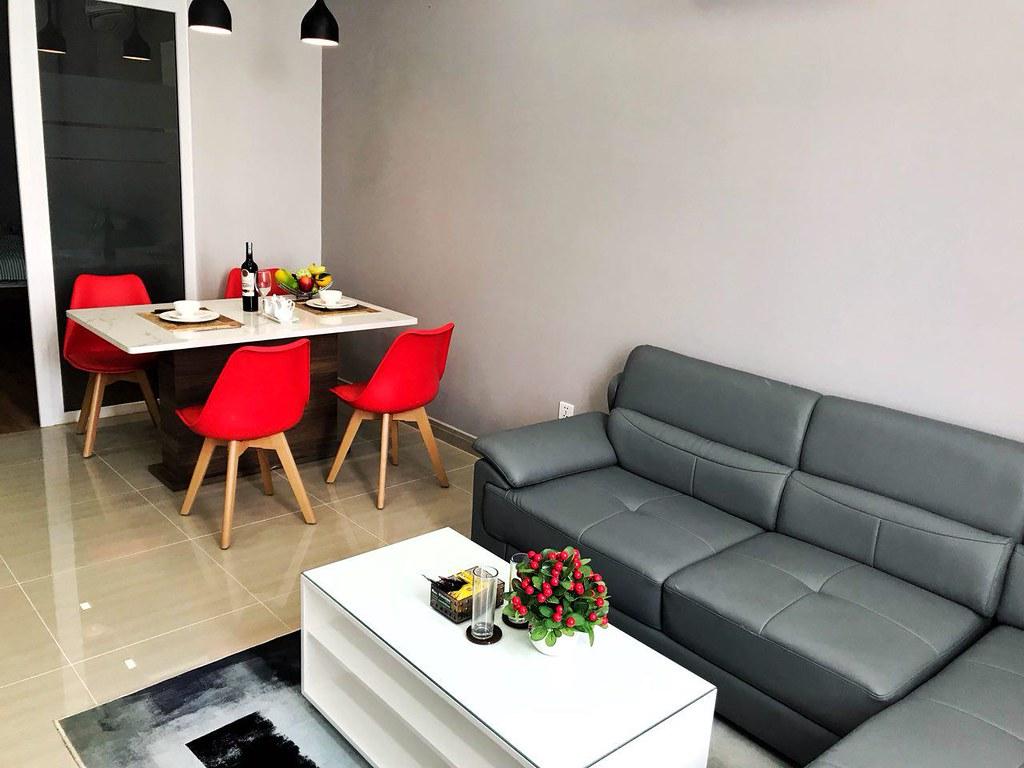 Phòng khách căn hộ sala đủ đồ cho thuê