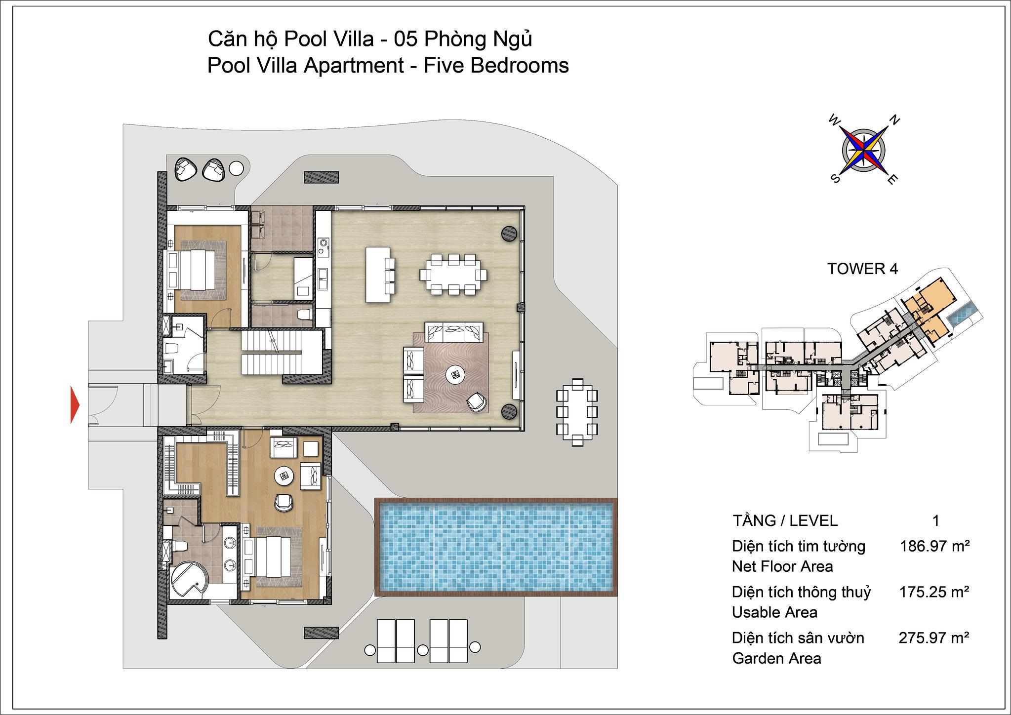 Thiết kế tầng 1 Pool Villa Đảo Kim Cương