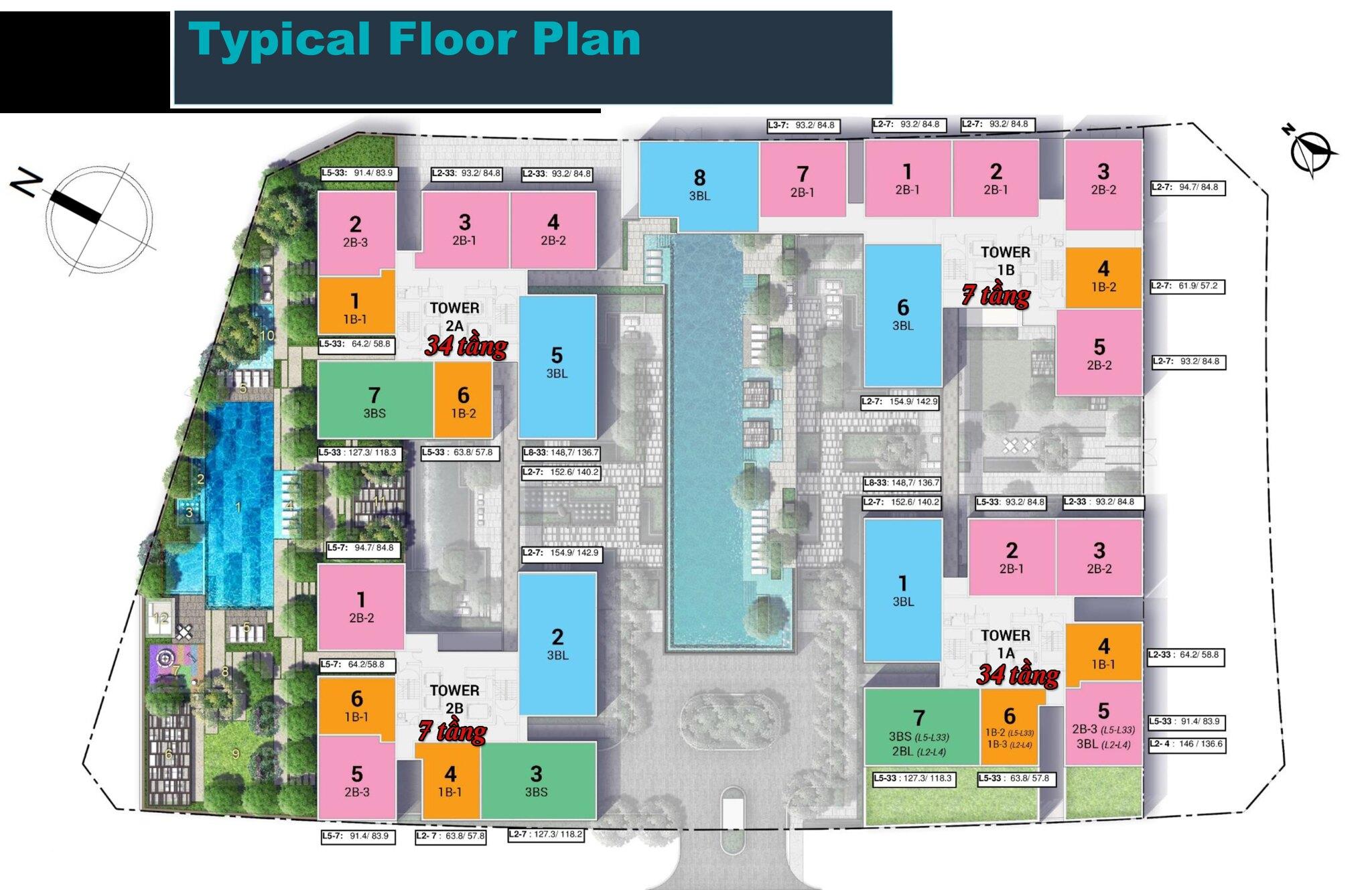 Mặt bằng điển hình tòa Linden Empire City; T1A, T2A cao 34 tầng; T1B, T2B cao 7 tầng