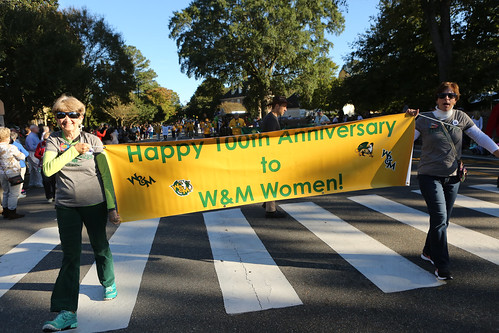 W&M's commemoration of 100 years of coeducation, celebrated here as part of the Homecoming Parade, will go on throughout the 2018-19 academic year. | by William & Mary Photos