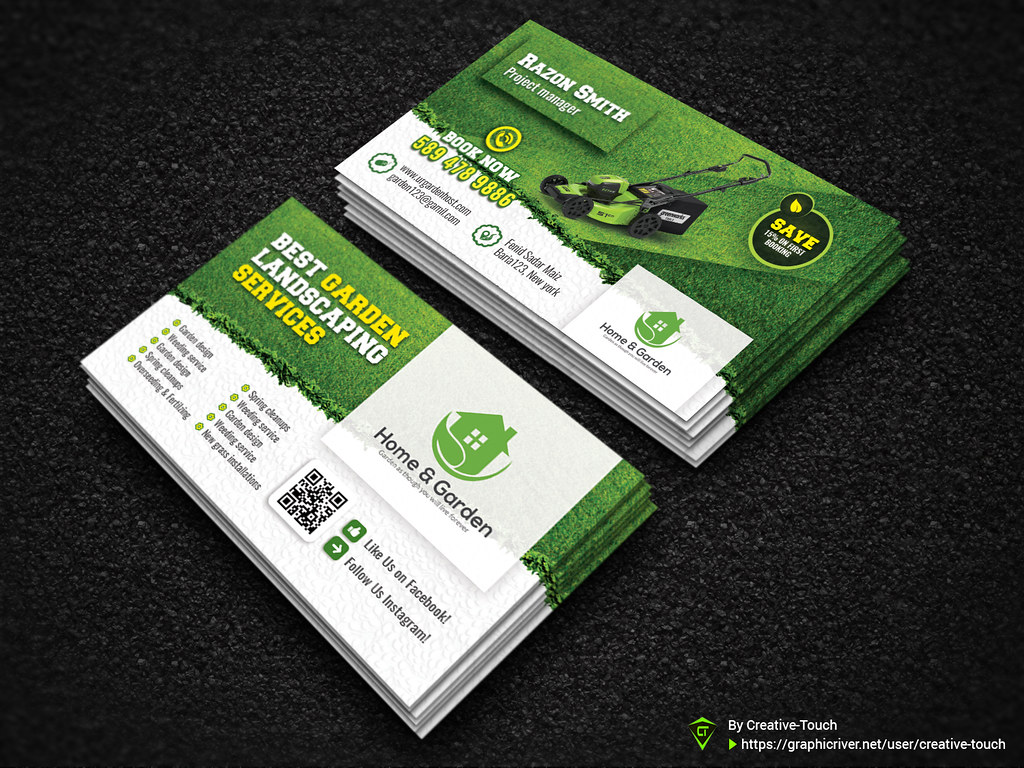 Garden Landscape Business Card Template Fully Editable Tem Flickr