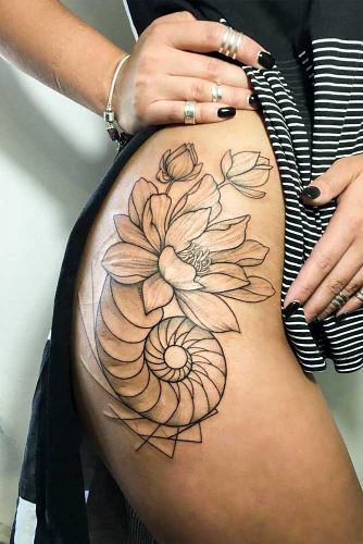 Lotus Flower Tattoo Side Black And White 334x500 Ahmed Alseady