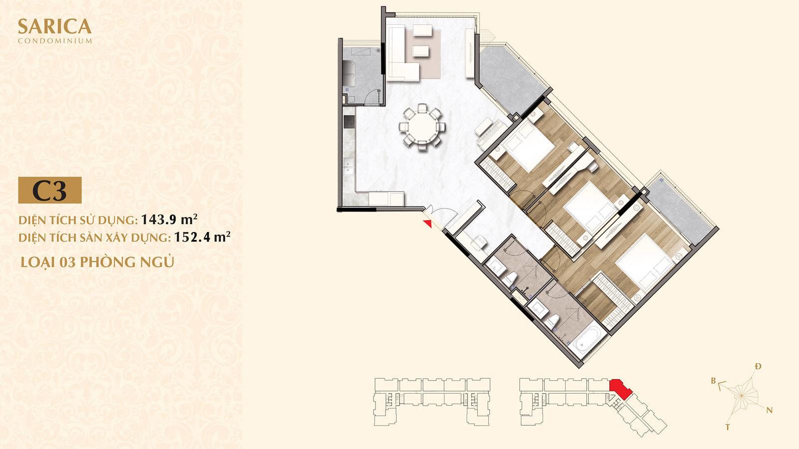Mặt bằng căn hộ Sarica 3 phòng ngủ 152m2 cần bán