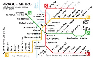 Prague Metro Map with Distances between Stations | by Adam Sporka
