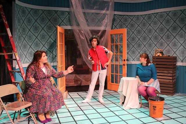 Samantha Duran, Triton Haq, and Abigail Venier rehearse in Play On!