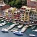 Pastel houses lining the shore of Portofino