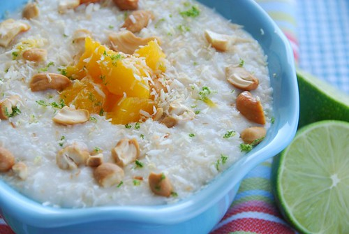 coconut lime rice pudding with mangoes and cashews | by Food Blogga