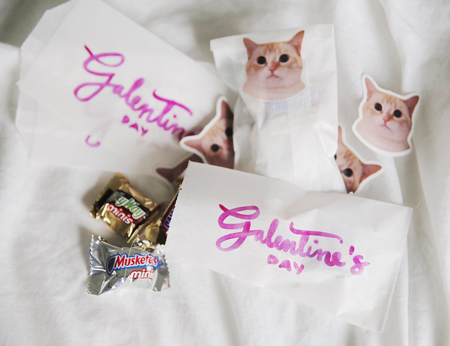 Custom goodie bags for Galentine's Day with Stickerapp