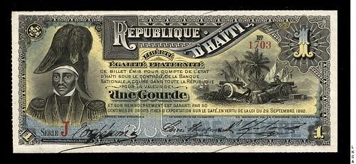 1892 Haiti 1 Gourde banknote