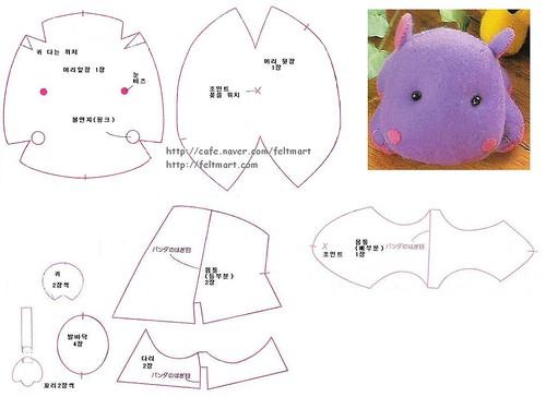 Moldes de hipopotamos en tela - Imagui
