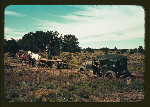 Team pulling a car out of the mud; the roads near Pie Town, New Mexico are not improved  (LOC) | by The Library of Congress