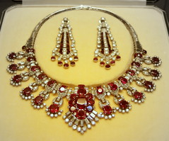 Ruby and diamond necklace and earrings | by Kotomi_