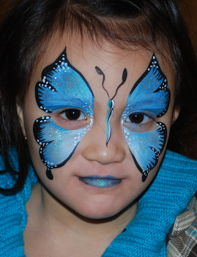 blue butterfly face painting face painting done by georgia flickr. Black Bedroom Furniture Sets. Home Design Ideas
