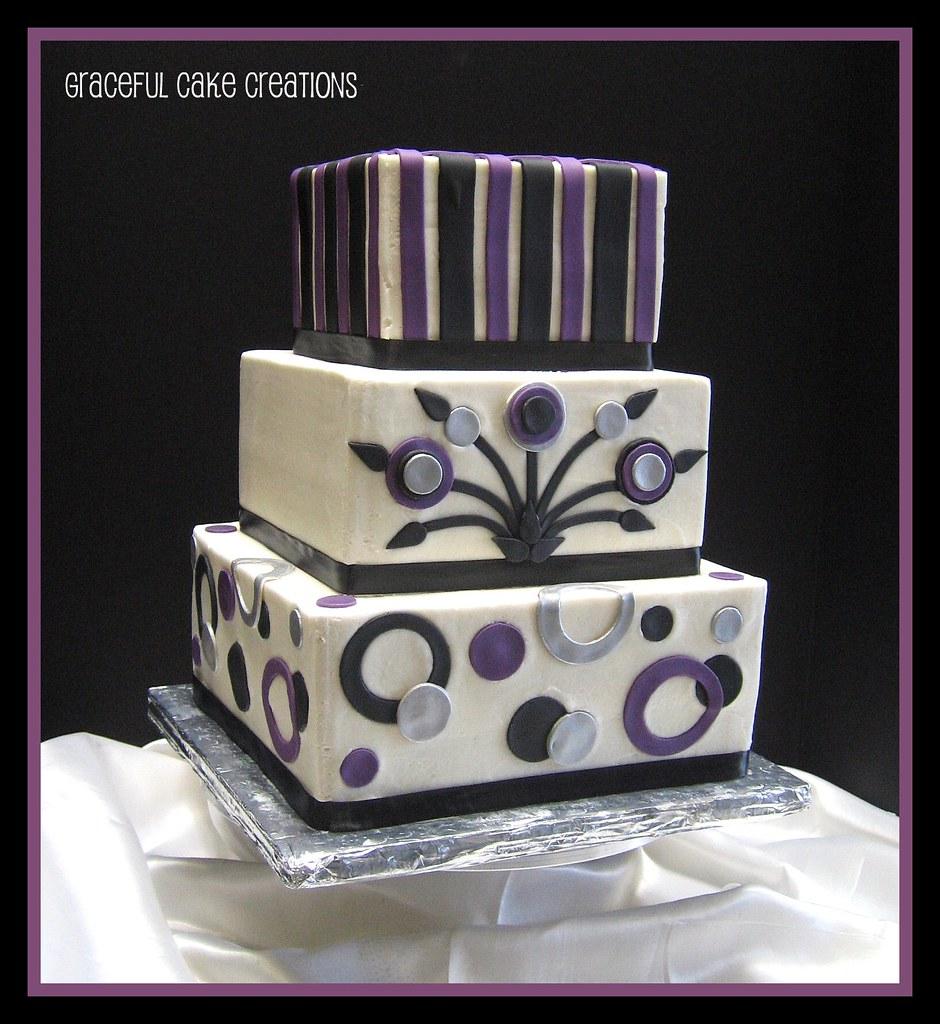 Black Purple And Silver Retro Wedding Cake