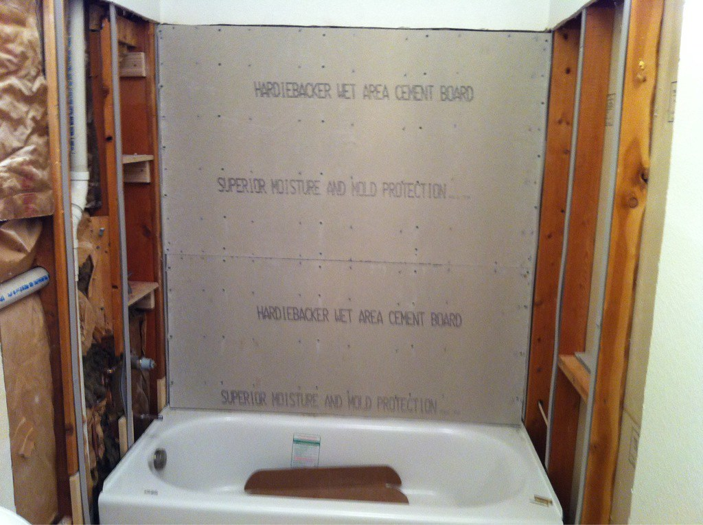Drywall Moisture Barrier : Tub in and plumbed drywall shims up vapor barrier ba