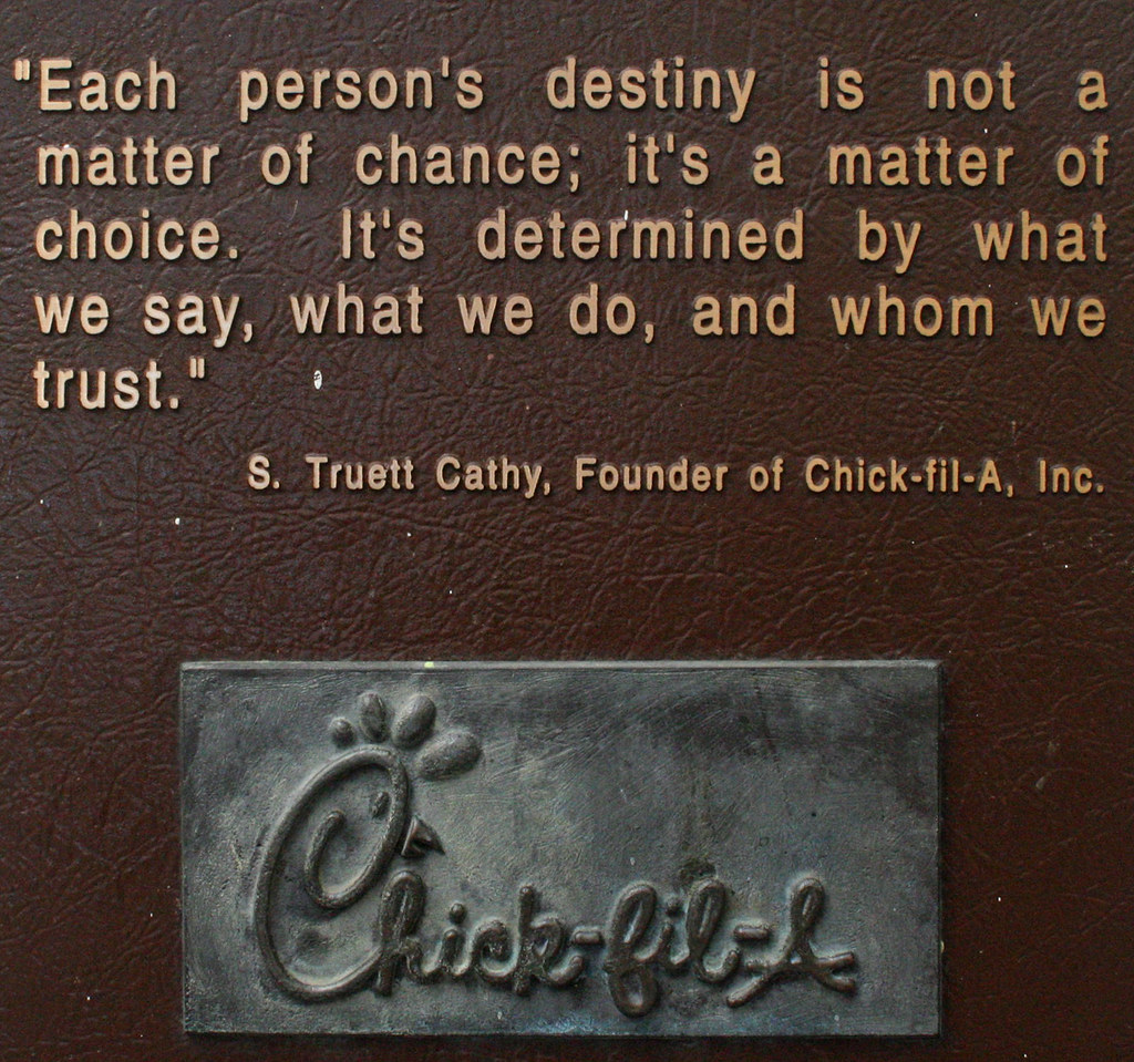 chick fil a and religion based business Chick-fil-a founder truett cathy died monday surrounded by family  those  religious views helped win cathy and his family loyal following from  truett  cathy began his career in the restaurant business by opening with his.