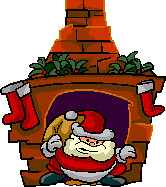 Santa popping out of the chimney