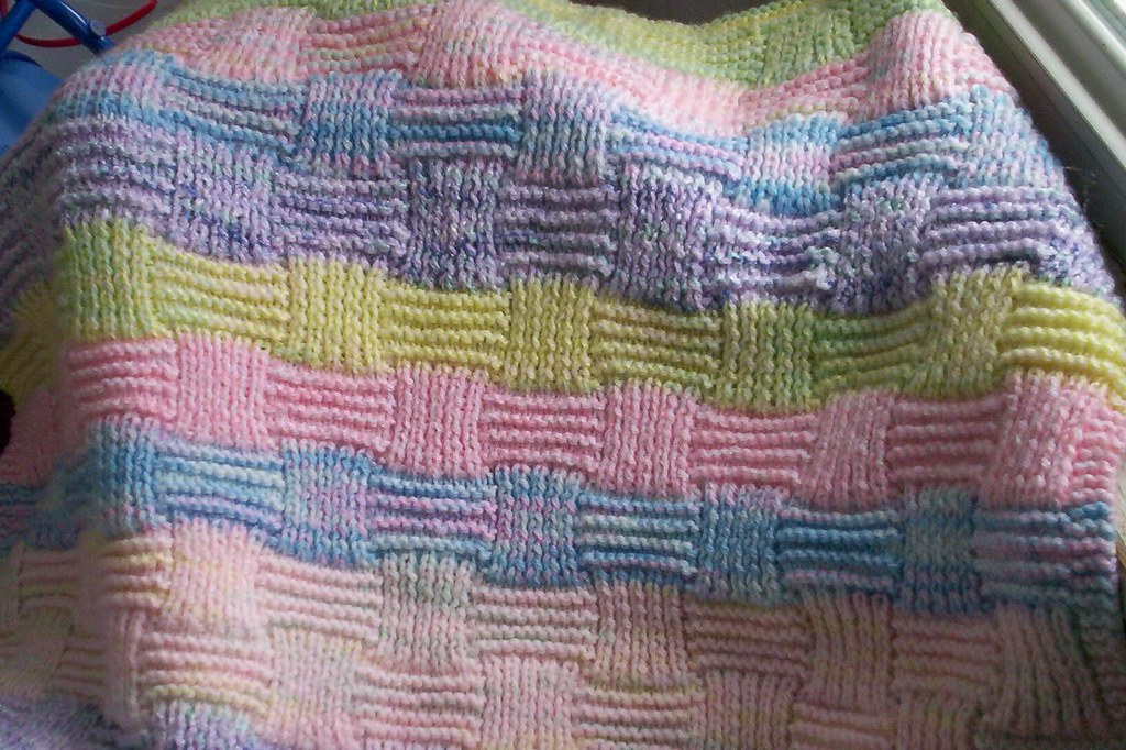 Basket Weave Pattern Knitting Afghan : Basketweave blanket needed to use up lots of scrap baby