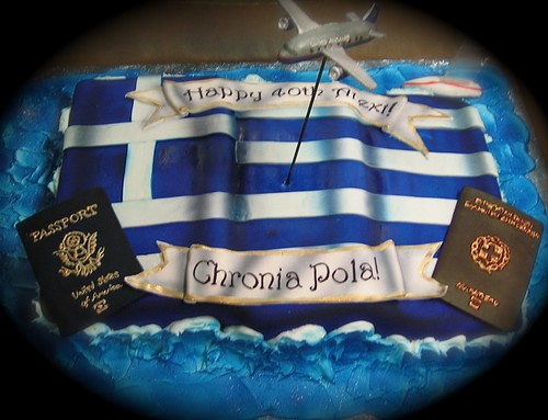 Greek Flag Cake Greek Flag And Sugar Pieces To Represent