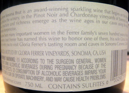 Gloria Ferrer NV (back) | by 2 Guys Uncorked