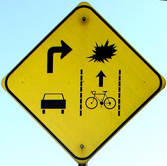 Stanford Right Hook warning sign | by Richard Masoner / Cyclelicious