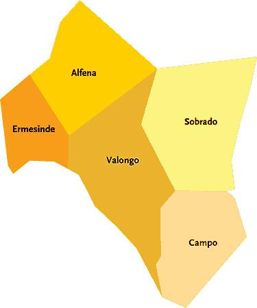 valongo mapa Concelho de Valongo   Portugal | Mapa das freguesias | Jorge  valongo mapa