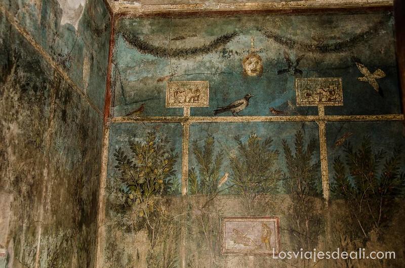 visita a Pompeya frescos de una casa