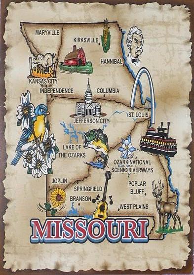 Missouri Map Postcard By Liberal Sprinkles