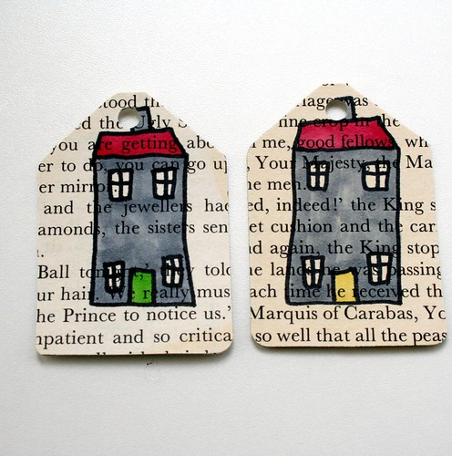 Set of 10 upcycled gift tags - houses | by Swirlyarts