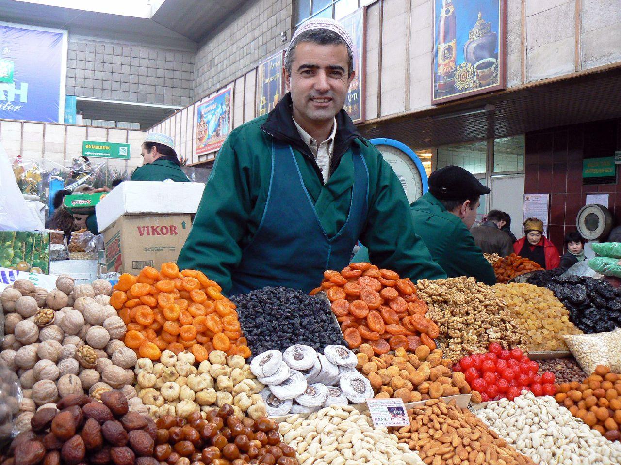 Fruit vendor at the Green Bazaar, Almaty, Kazakhstan