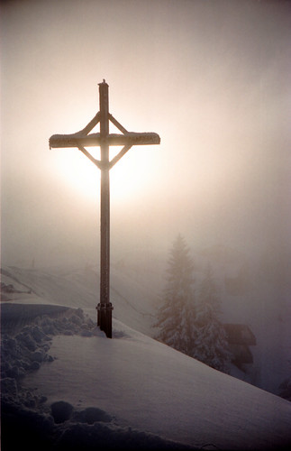 Sun / fog / snow / cross | by schoeband