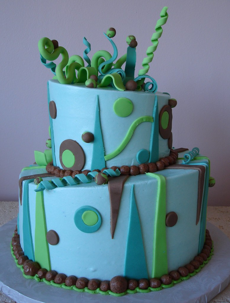 Abstract Topsy Turvy Cake Buttercream Icing With Fondant