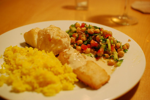 baked cod with tahini sauce, chickpea salad and saffron rice | by Paul Keller