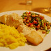 baked cod with tahini sauce, chickpea salad and saffron rice