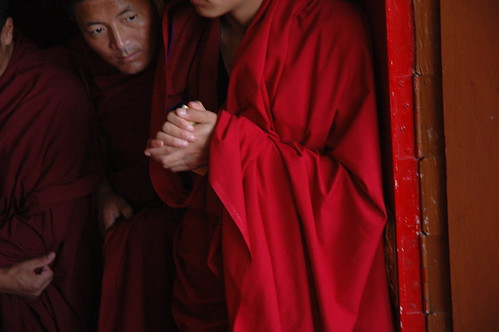 Monks eagerly awaiting the Lama's arrival, So very happy! Sakya Lam Dre, Tharlam Monastery of Tibetan Buddhism, Boudha, Kathmandu, Nepal | by Wonderlane