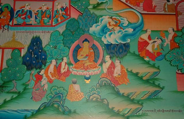 Buddha teaching wall mural tharlam monastery bodha for Buddha wall mural