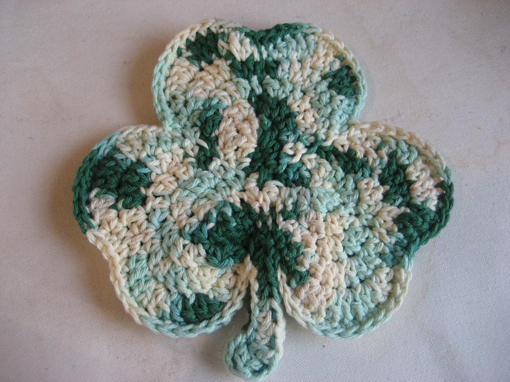 Pot Leaf Knitting Pattern : Shamrock Potholder pattern from Priscilla Hewitt Mary Flickr