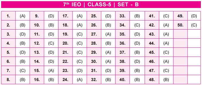 IEO Answer key SET B  Class 5