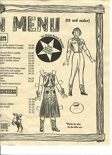Kids Menu from Cowgirl BBQ | by Jane Little