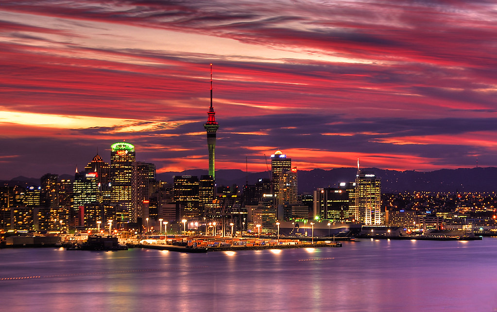 auckland harbour sunset central auckland from mount. Black Bedroom Furniture Sets. Home Design Ideas