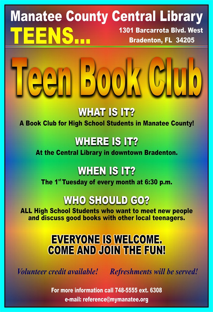 teen book club poster please note this event has