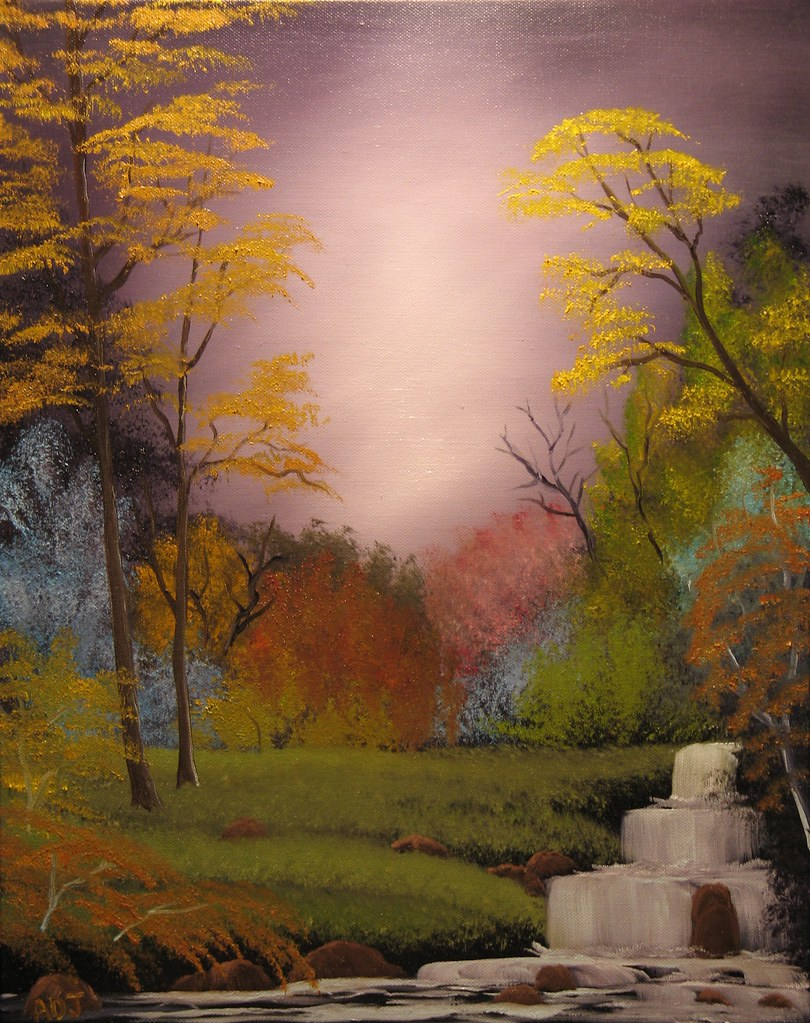 Purple Haze Ii Oil On Canvas Bob Ross Style Painting I