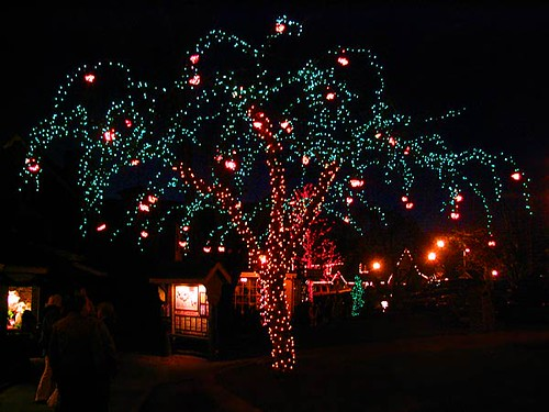 Tree Decorated With Christmas Lights In Peddler S Village