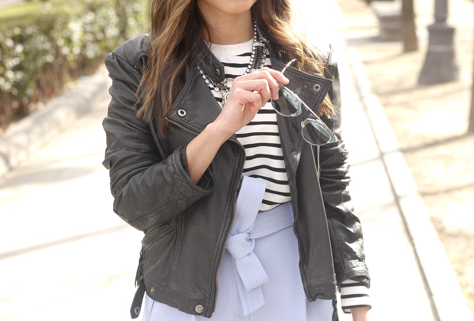Light Blue Pallazzo pants t-shirt stripes black heels biker jacket dior so real sunglasses outfit style fashion14