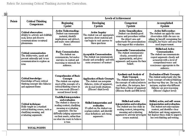 Australian Curriculum Assessment Rubric Critical Thinking - image 10
