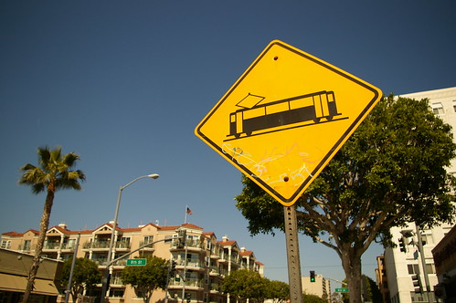 Light rail crossing sign in Long Beach | by fredcamino