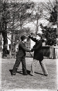 Entertainer demonstrating self-defense | by Special Collections Department, ISU Library